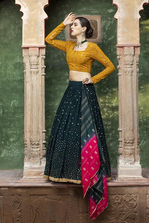 Dark Green Designer Exclusive Traditional Lehenga Choli (4)