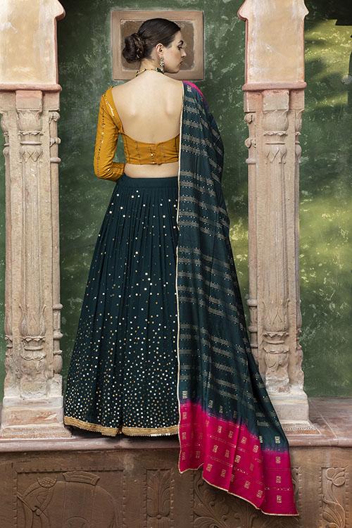 Dark Green Designer Exclusive Traditional Lehenga Choli (5)