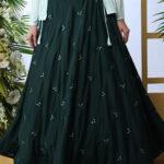 Dark Green Lehenga Choli With Contrast Color Koti (1)