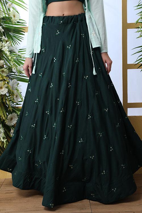 Dark Green Lehenga Choli With Contrast Color Koti (3)