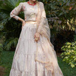 Dusty Jacquard Weaving Semi Stitched Lehenga Choli (1)