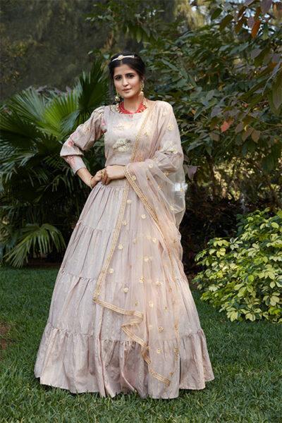 Dusty Jacquard Weaving Semi Stitched Lehenga Choli