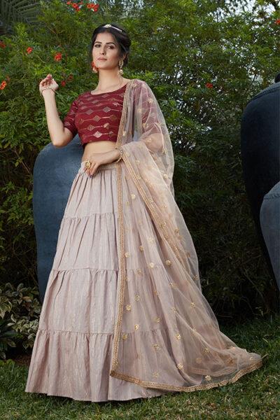 Dusty Pigment Foil Work Designer Lehenga Choli Collection