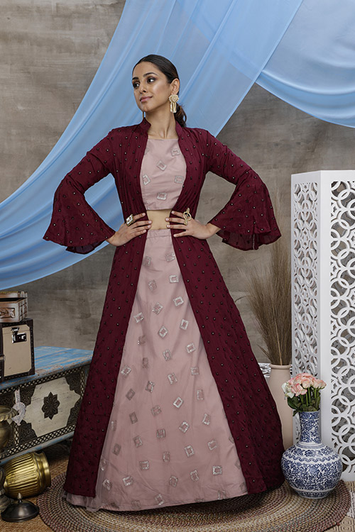 Dusty Pink Lehenga Choli With Contrast Color Floor Length Koti Collection (3)