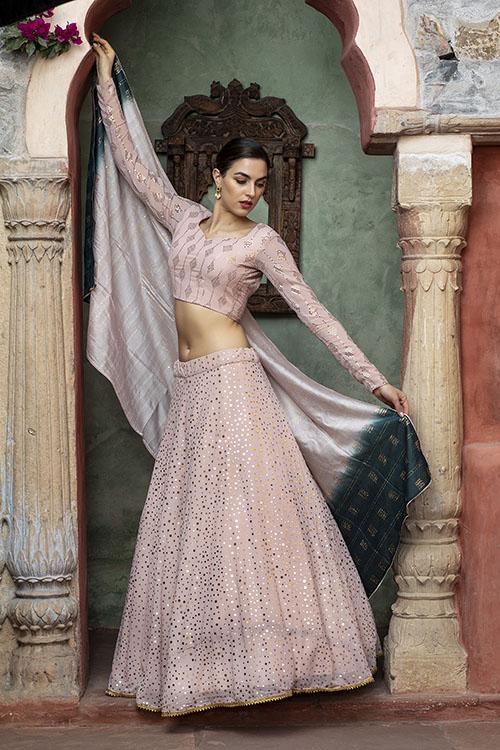 Dusty Pink Sequince Exclusive Lehenga Choli Collection (3)