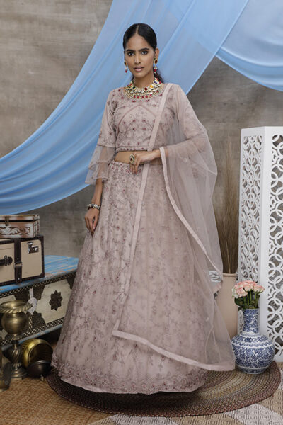 Dusty Pink Exclusive Embroiered Lehenga Choli