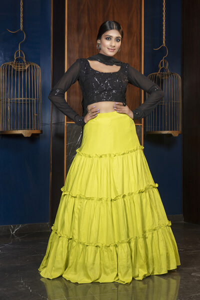 Floracance Green With Contrast Black Color Lehenga Choli Collection