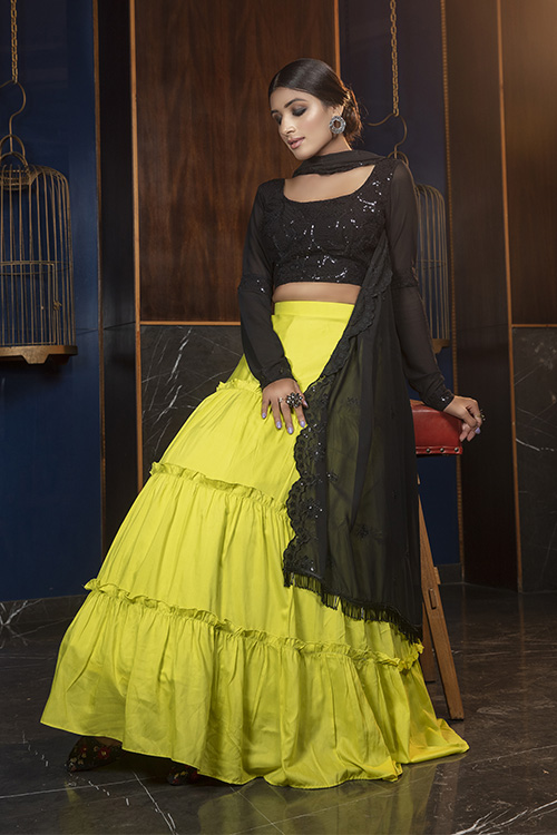 Floracance Green With Contrast Black Color Lehenga Choli Collection (3)