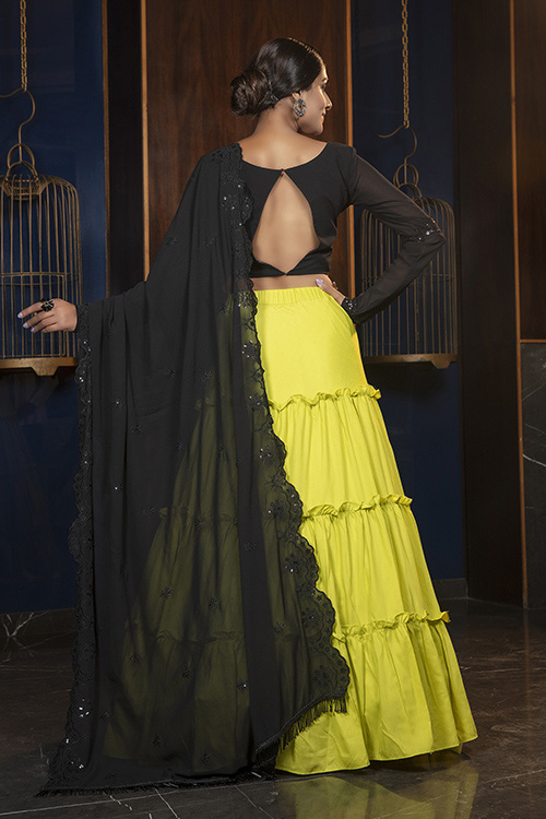 Floracance Green With Contrast Black Color Lehenga Choli Collection (4)