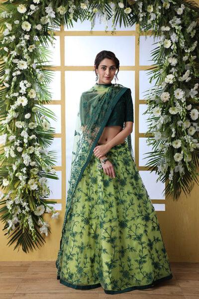 Floracance Green With Net Fabric Embroiered Lehenga Choli
