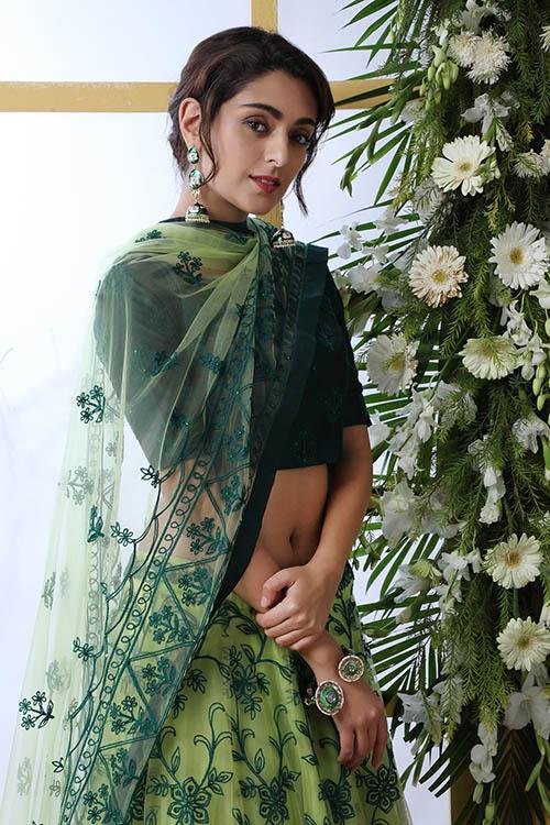 Floracance Green With Net Fabric Embroiered Lehenga Choli (2)