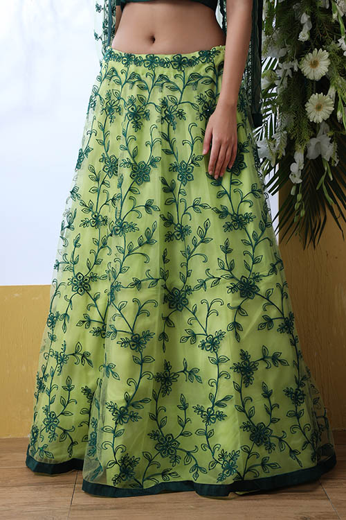 Floracance Green With Net Fabric Embroiered Lehenga Choli (3)
