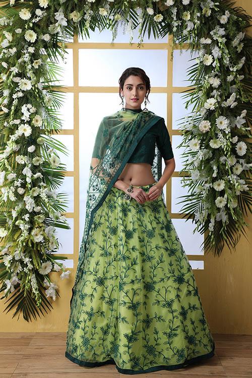 Floracance Green With Net Fabric Embroiered Lehenga Choli (5)