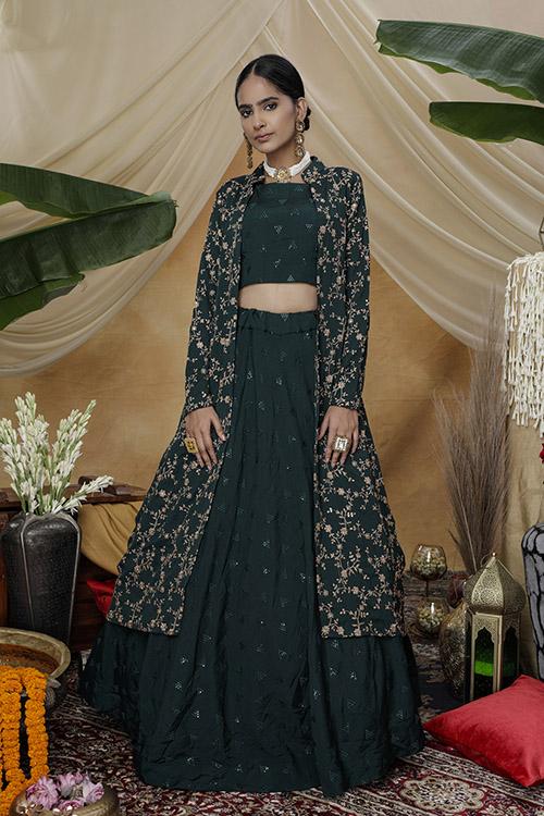 Green Exclusive e Unstithed Koti Style Lehenga Choli Collection (1)