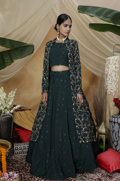 Green Exclusive e Unstithed Koti Style Lehenga Choli Collection (3)
