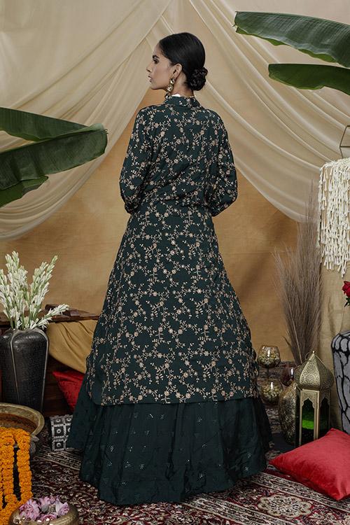 Green Exclusive e Unstithed Koti Style Lehenga Choli Collection (4)