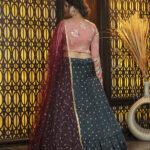 Green Jacquard Weaving Semi Stitched Lehenga Choli (1)