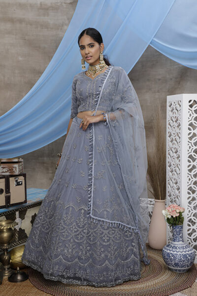 Grey Color With Unstitched Choli With Lehenga Collection with Dupatta