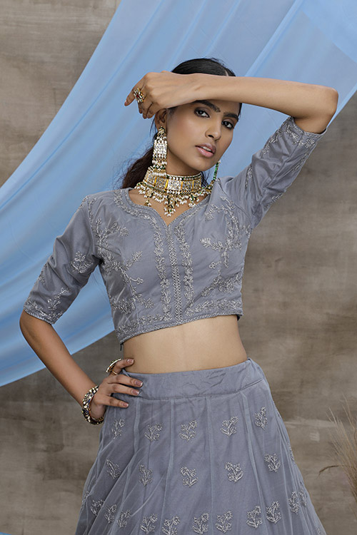 Grey Color With Unstitched Choli With Lehenga Collection with Dupatta (2)
