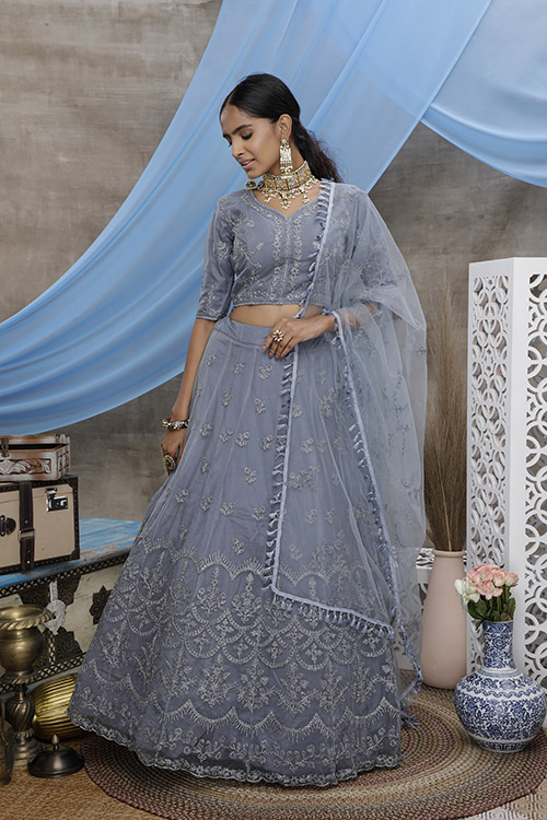 Grey Color With Unstitched Choli With Lehenga Collection with Dupatta (3)