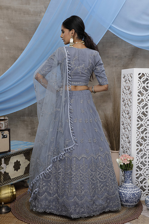 Grey Color With Unstitched Choli With Lehenga Collection with Dupatta (5)