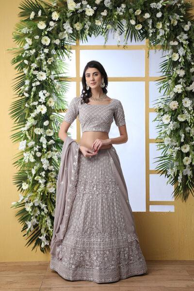 Grey Georgette Traditional Look Designer Lehenga Choli