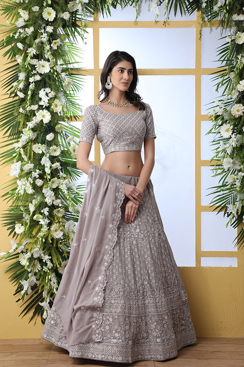 Grey Georgette Traditional Look Designer Lehenga Choli (4)