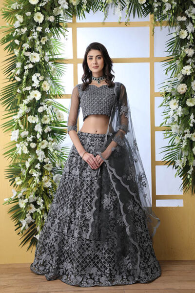 Grey Net Fabric Thread Embroidered Lehenga Choli