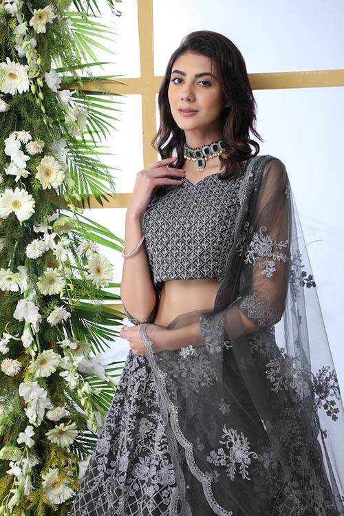 Grey Net Fabric Thread Embroidered Lehenga Choli (2)