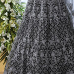 Grey Net Fabric Thread Embroidered Lehenga Choli (1)
