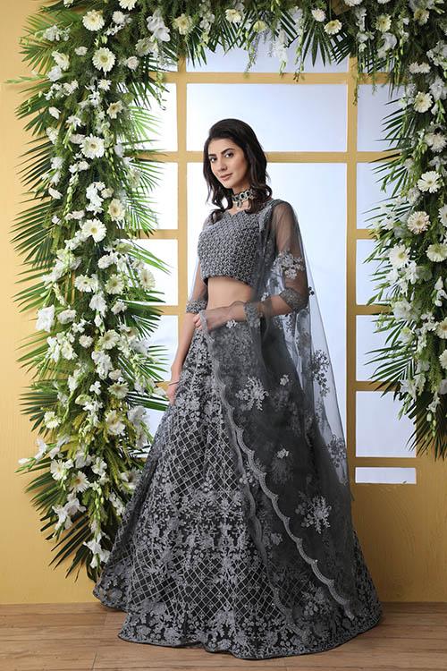 Grey Net Fabric Thread Embroidered Lehenga Choli (4)