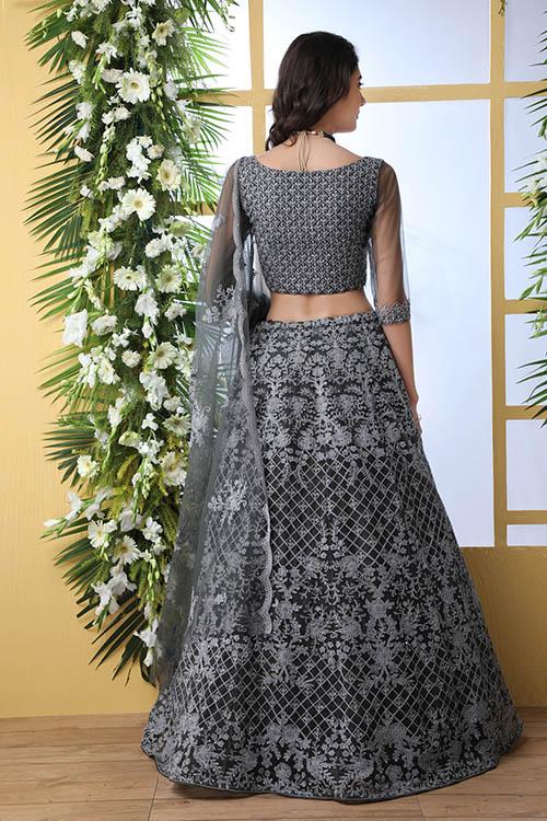 Grey Net Fabric Thread Embroidered Lehenga Choli (5)
