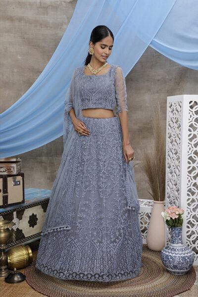Grey Thread Embroidered With Beautiful Work Lehenga Choli