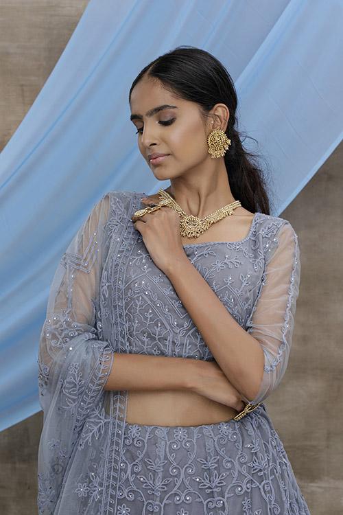 Grey Thread Embroidered With Beautiful Work Lehenga Choli (2)