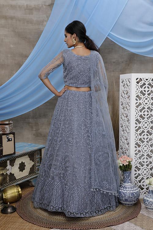 Grey Thread Embroidered With Beautiful Work Lehenga Choli (3)