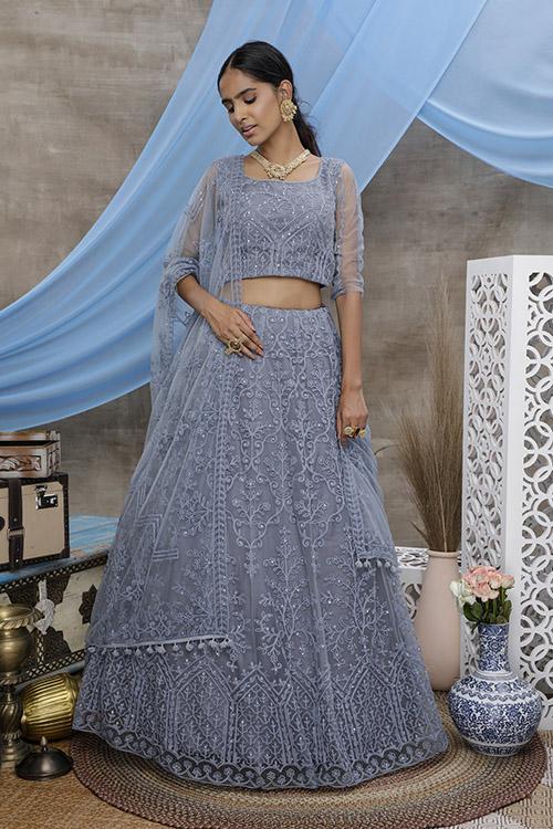 Grey Thread Embroidered With Beautiful Work Lehenga Choli (4)