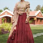 Maroon Jacqued Weaving Designer Lehenga Choli Collection (1)