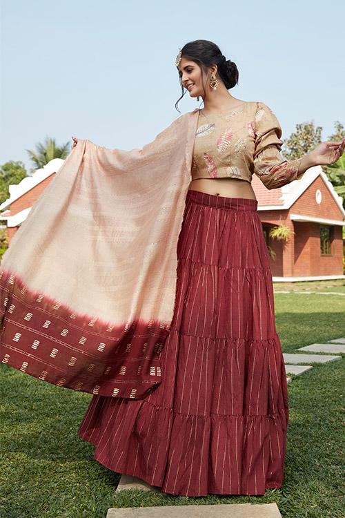 Maroon Jacqued Weaving Designer Lehenga Choli Collection (3)