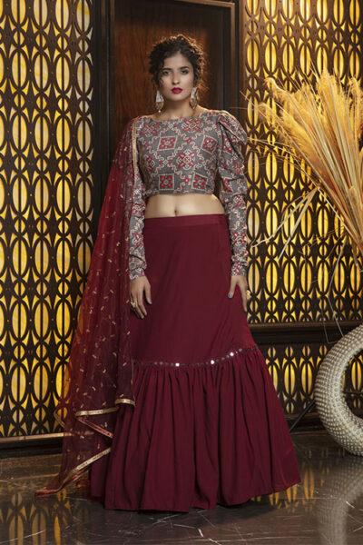 Maroon Semi Stitched Lehenga Choli