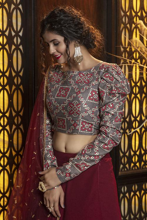 Maroon Semi Stitched Lehenga Choli (2)