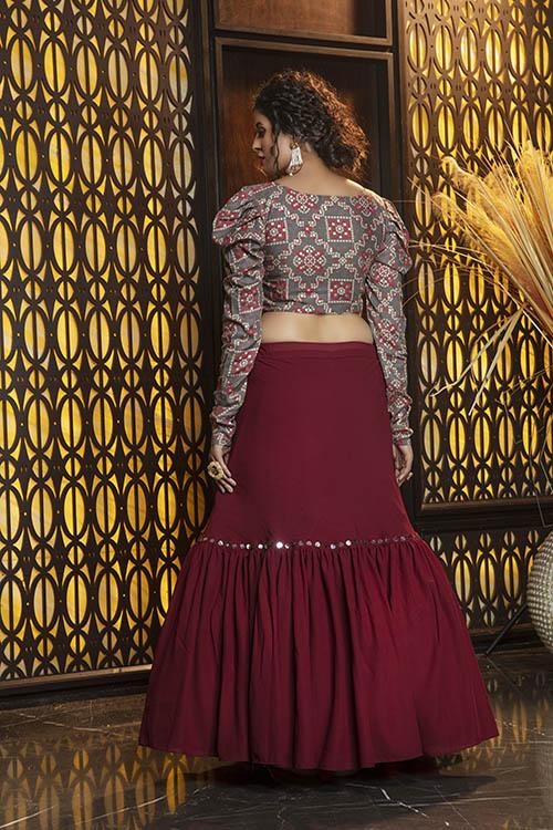 Maroon Semi Stitched Lehenga Choli (3)