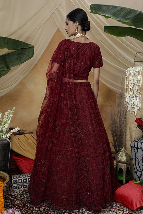 Marron Color Bridal Look Exclusive Weeding Wear Lehenga Choli Collection (1)