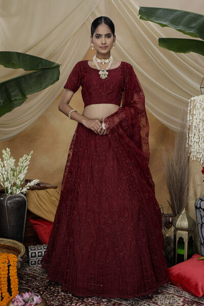 Marron Color Bridal Look Exclusive Weeding Wear Lehenga Choli Collection