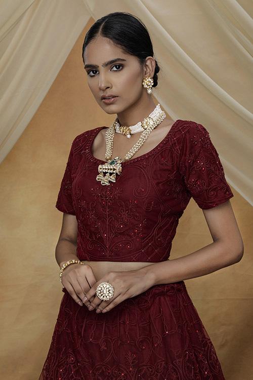 Marron Color Bridal Look Exclusive Weeding Wear Lehenga Choli Collection (3)