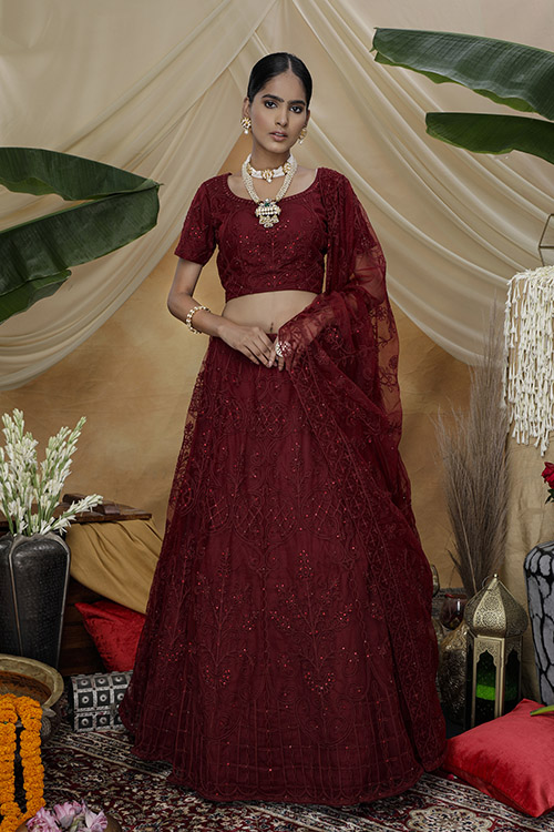 Marron Color Bridal Look Exclusive Weeding Wear Lehenga Choli Collection (4)