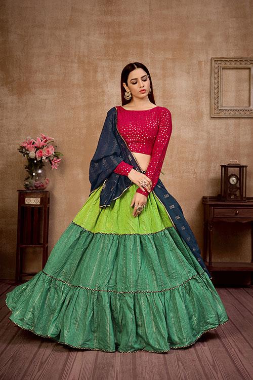 Multi Color Sequince Work Semi Stitched Lehenga Choli Collection (4)