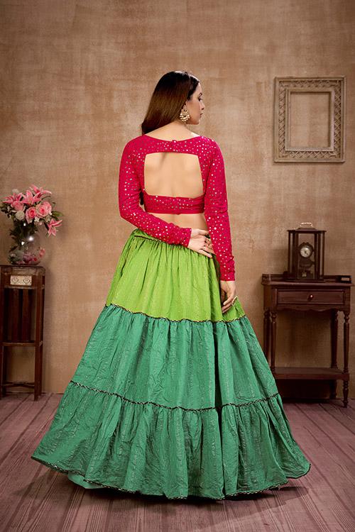 Multi Color Sequince Work Semi Stitched Lehenga Choli Collection (5)