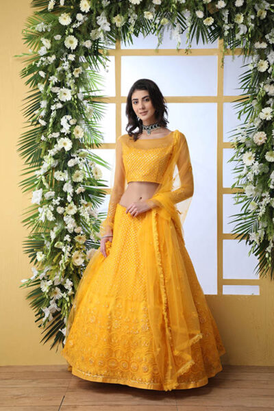 Mustard Yellow Color With Net Fabric Embroidered Lehenga Choli With Dupatta