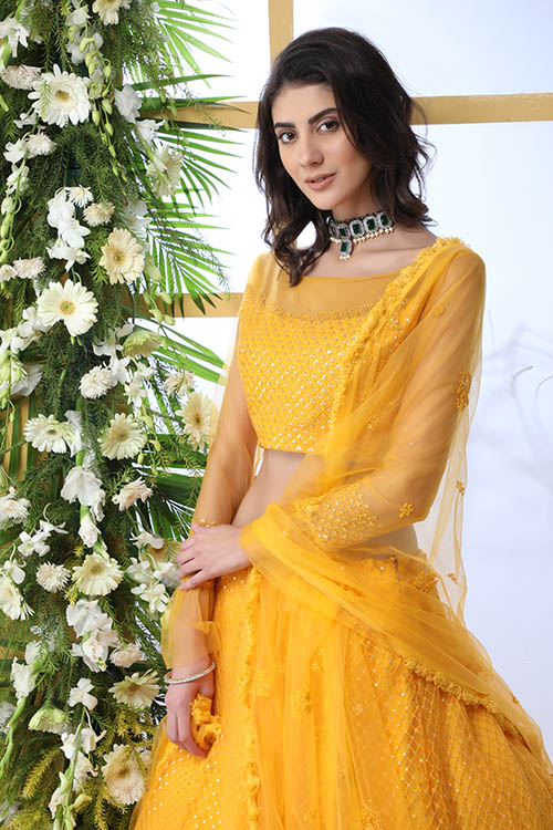 Mustard Yellow Color With Net Fabric Embroidered Lehenga Choli With Dupatta (2)