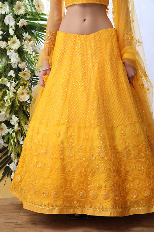 Mustard Yellow Color With Net Fabric Embroidered Lehenga Choli With Dupatta (3)